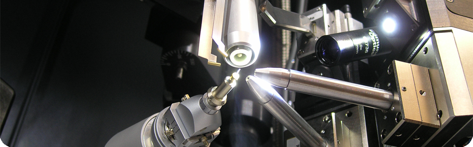 A crystal mounted on a glass rod on the Bruker D8 diffractometer