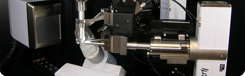 View of Bruker D8 diffractometer  goniometric head and X-ray collimator.
